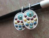 Turquoise Czech Glass and Multi Color Seed Bead Mosaic Earrings in Antiqued Silver Plated Setting Wearable Mosaic Art