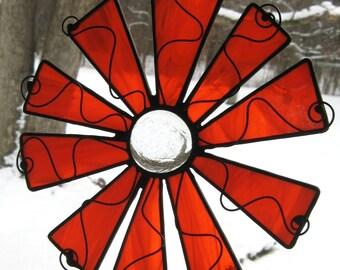 Bright Orange Stained Glass Pinwheel Flower Suncatcher