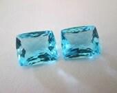Sale,  AAA Sea Blue Topaz Gemstones - Matching Pair -  Square Shape Gemstones - Earrings Focals