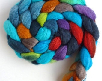 Merino/ Silk Roving (Top) - Handpainted Spinning or Felting Fiber, Bright Spots