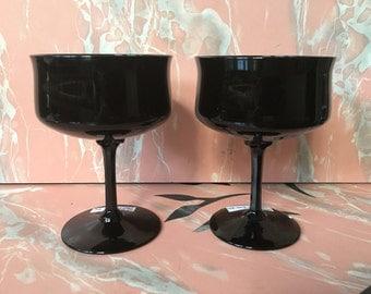 PAIR Lenox Black Stem Glasses 70's Vintage Midnight Mood Champagne Sherbert Wine Goth Indie Alternative Stemware Rare Free Shipping