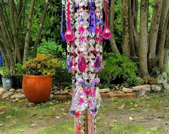 Purples Antique Crystal Wind Chime, Magenta Fuchsia Purple Crystal Wind Chime, Garden Decoration, Bohemian Wind Chime, Window Decoration