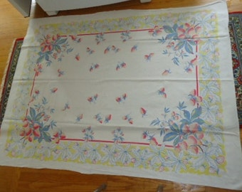 """Shabby a bit faded Pretty Vintage Colorful Strawberries Cotton Tablecloth 49"""" X 63""""."""