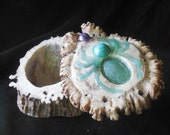 Aventurine Turquoise Spider  Abalone Shell Carved Shed Elk Antler Boss Box Extra Large Size  Cruelty Free Semiprecious Stone Gemstone Inlay