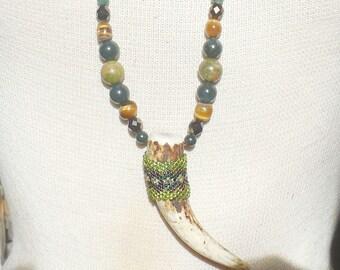 Beaded Shed Elk Antler Tip Necklace Unakite Green Jasper Tiger Eye / Moss Agate Semiprecious Stone Gemstone Beads Adjustable Length