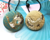 Handmade Large Blue Gold Golden Oriental Japanese Crane Bird Motif Fabric Covered Button Hair Ponytail Holder Elastic Hair Tie