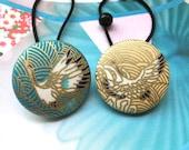 Handmade Large Blue Gold Golden Oriental Japanese Crane Bird Motif Fabric Covered Button Hair Ponytail Holder Elastic Hair Tie