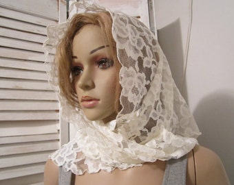 Lace Scarf  Mantilla Lace Shawl Tulle Scarf