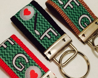 Golf Key Fob, Sports Keychain, Gifts Under 10, Wristlet Key Holder, Mini Key FOB, Golf Ribbon, Party Favor, Key Ring, keys