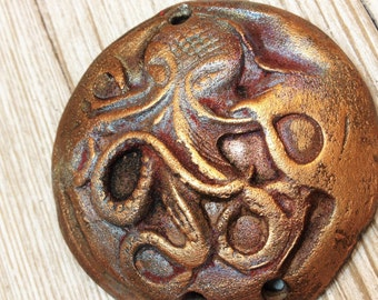 188. Wondrousstrange Raku Nautical  Deep Sea Gamochonia  Kraken the Octopus Raku Copper Red Gold Pendant