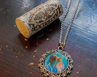Ornate Dancing Jellyfish Mermaid Necklace - The Dance - Naiad art pendant charm, wearable art, siren jelly fish, silver finish
