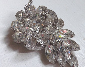 Vintage signed Weiss rhinestone brooch dimensional layered leaf crystal clear brilliant marquis stones silver tone metal ribbons of icing