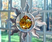 """Pewter and Swarovski Crystal Sun Ornament, Window Prism, Light Catcher, Swarovski Crystal Ball and Strand in Topaz and Clear - """"SOL"""""""