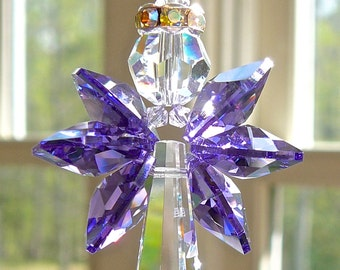 "Crystal Guardian Angel Suncatcher for Car or Home, Purple Angel Car Charm, Memorial Gift, Angel Ornament, Available in 14 Colors  - ""GRACE"""