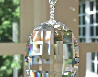 "Swarovski Matrix, 50mm Clear Oval Sun Catcher with Swarovski Crystal Beaded Strand, ""GABRIELLA,"" Lightcatcher Also Available as Fan Pull"