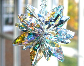 """Rear View Mirror Accessories, Crystal Car Charm, Suncatcher for Car, Swarovski Aurora Borealis Cluster Shimmers in Low Light - """"STELLA AB"""""""