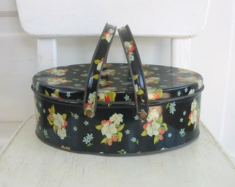 Vintage Metal Basket Box Biscuit Tin Flowers Black Retro Sewing