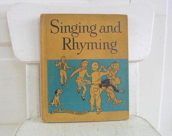 Vintage Music Book, Child School Book, Singing Rhyming Book, Child Music Book, Song Book, Fifties Aqua