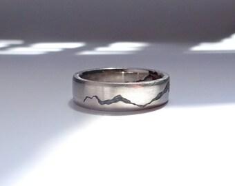Gemstone Inlay Mountain Ring, 6mm band, Handmade Band w Gemstone Inlay, Sterling Silver, Palladium, Gold or Platinum Wedding Band