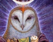 HOMECOMING ※ Barn Owl Celtic Shaman Birth Life Death Goddess Moon Otherworld Other Mother Bird Art Print