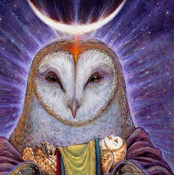 HOMECOMING ※ Barn Owl Celtic Shaman Birth Life Death Goddess Moon Otherworld Other Mother Bird Art Print