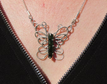 Sterling Silver Tourmaline Crystal Butterfly Necklace
