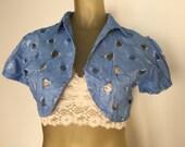 Cropped Blue Bolero Jacket, Short Sleeve Open Bolero Blouse, Blue Floral Eyelet Bolero, Cropped Shrug, Open Weave Cropped Jacket Vintage 50s