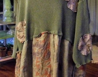 Plus Size Upcycled Embellished Dress/Tie Dyed Linen Skirt/Grey/Green Man's Shirt with Dyed Vintage Chenille Flower Deco