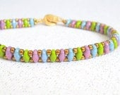 multicolor super duo bracelet beaded jewelry bead cuff stackable bangle
