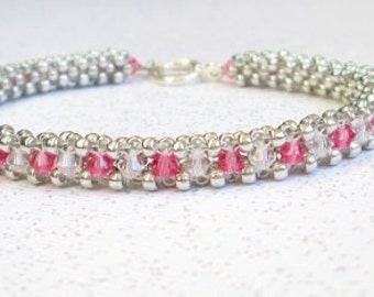 crystal beaded tennis bracelet bead jewelry pink and white bangle