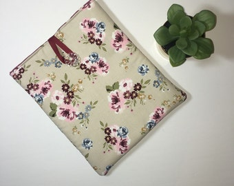 iPad Case, ipad Cover, Tablet Case, Tablet Cover, Padded iPad Case, Fabric iPad Case, Pink Flowers Cream iPad Case, Gift Idea, iPad