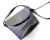 Vintage 90s black genuine leather, cross body, messenger small bag with a cross hand stitched embroidery . Made by Sorpresa.