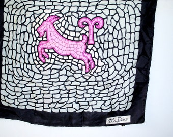 Zodiak  Aries Vintage 80s silk scraf with a mozaic print. Made by Mr.Dino in Italy.