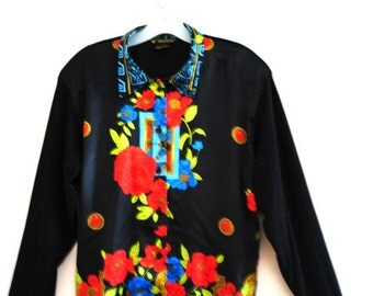 Valentines  day vintage 80s black polyester, slouch blouse with a blue  trim and red  and blue poppy. Made by Valentina. One size fits all.