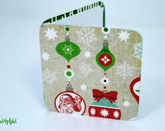 Blank Mini Holiday Set of 10 Cards, Ornament Design with Contrasting Holiday Text on the Inside, Metallic Green Envelopes, mad4plaid