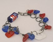 Red White Blue Bracelet, Cultured Sea Glass Beads Bracelet, Patriotic Bracelet, USA Flag Bracelet, Trending BoHo Blue Bracelet, Casual Fun
