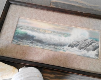 Vintage Framed Print Crashing Ocean Waves 1930's, Beach Cabin or Cottage Interior Wall Art Decor