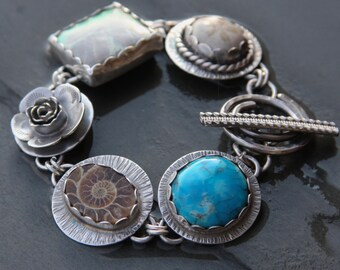 RESERVED for Carol oOo turquoise, ammonite, variscite, sea biscuit and sterling silver metalwork link bracelet