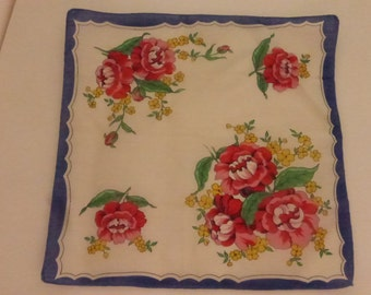 Vintage Mid Century  Floral Handkerchief with Red Roses and Blue Border