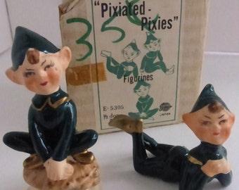 Pair Vintage Enesco Pixiated Pixies  in Box