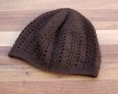Crochet Beanie Hat - Lace Beanie - Skull Cap - Chocolate Brown