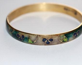 Cloisonne Bracelet Green Blue and Tan