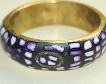 Purple Passion Mosaic Bangle Bracelet