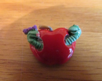 worm in apple small brooch