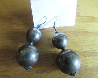 brass balls dangle earrings