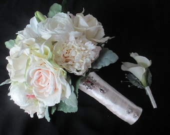 Reserved listing for......Tayo Ekundayo...Summer bridal bouquet Real Touch Roses Calla Lilies and Peonies Wedding Set