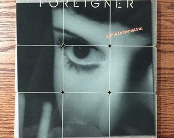 Foreigner handmade wood coasters with warped vinyl bowl from Inside Information music album