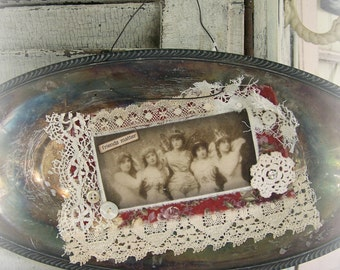 Handmade Altered Silver Tray Collage Vintage Silver Bowl Vintage Style Art Altered Art Vintage Mixed Media Friends Tarnished Silver