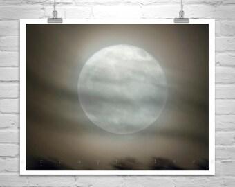 Moon Art, Moon Photography, Night Sky, Moon Picture, Nature Photo, Black and White, Fine Art Print, MurrayBolesta, Moody Art