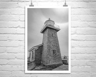 Santa Cruz, Lighthouse Art, Black and White, California Coast, Vertical Photo Print, California Art, Surfing, Surf Print, Surfers Lighthouse
